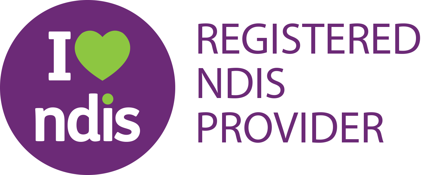 NDIS logo - a purple circle with I heart ndis written inside
